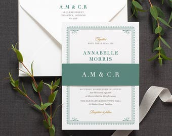 Elegant Traditional Wedding Invitation / 'Bloomsbury' Classic Vintage Wedding Invite / Teal Green Forest Green / Custom Colours / ONE SAMPLE