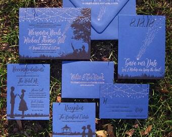 Starry Night Romantic Rose Gold Foil Wedding Invitation Suite