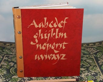 Calligraphy Lower Case Alphabet Red Sketch Journal with Vintage Covers and Leather Spine