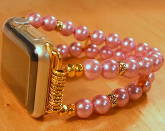Watch Band for Apple Watch, Pink Pearl Apple Watch Bracelet, Watch Band, Watch Bracelet