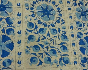 Uzbek hand embroidered blue suzani Pomegranates and Medallions. Wall hanging, bed cover suzani