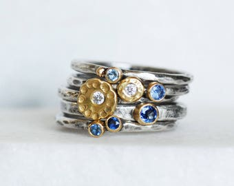Sapphire and Diamond Ring Set - Cornflower Sapphire Diamond 18k Gold and Silver Stack Rings - Set of 5 Rings - Eco-Friendly Recycled