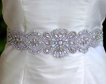 Silver Sash, Silver Bridal Sash, Crystal Wedding Belt, Wedding Dress Belt, Rhinestone Sash Belt, Ceinture de Mariée  CHRISTEL S