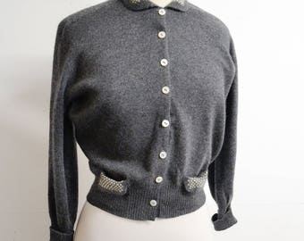 1950s Dark grey cashmere cardigan / 1940s 50s wool button down sweater - S