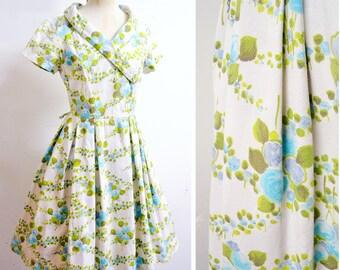 1950s White blue rose print cotton full skirt day dress / 50s piqué printed floral St Michael summer dress - S