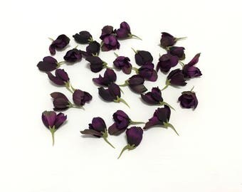 Silk Flowers - 30 Delphinium Buds in Deep Eggplant Purple - 1 Inch by 1 Inch - Artificial Flowers
