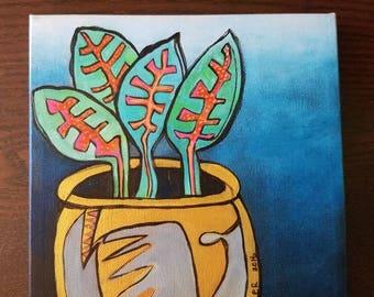 "Garden Inspiration - Original acrylic painting  8""x8""-"