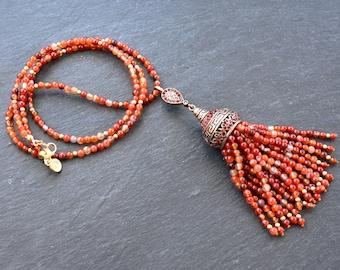 Ethnic Turkish Tassel Necklace Orange Carnelian Stone Gemstone Greek Key Pattern Statement Gypsy Hippie Bohemian Artisan OOAK