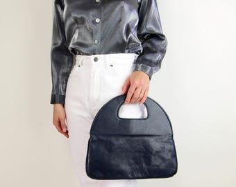 VINTAGE Handbag Black Leather Cutout Modern