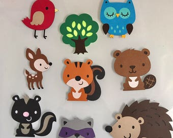 """Woodland Critters die cut at 2.5"""" perfect for Birthdays - cake decor -cupcake toppers - centerpieces"""