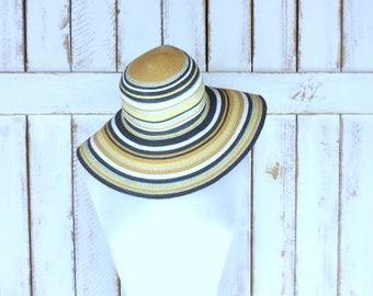 Vintage striped straw floppy sun hat/large brim woven braided straw pool hat/gardening hat/beach hat/black/gold/tan hat