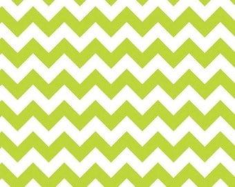 Winter Sale Riley Blake Fabric - Half Yard of Small Chevron in Lime