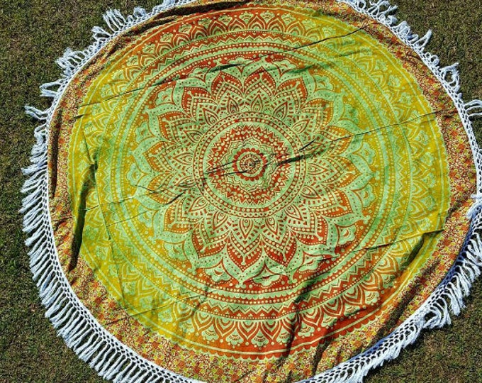 Fire on the Mountain Mandala Roundie with White Fringe Mandala Tapestry Beach Blanket Yoga Mat Meditation Mat Dorm Decor Hippie Tapestry