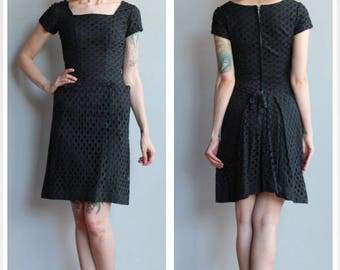 1950s Dress // Waffle Eyelet Sheath Dress // vintage 50s dress