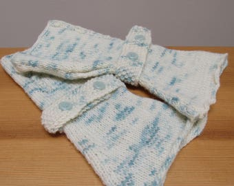 White Wool Wrist Warmers, Hand Warmers with Blue Clouds