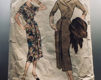 50s Vogue 9272 One Piece Fitted Sheath Dress Shawl Collar Day or Evening Size 16 Bust 36 and vintage fabric