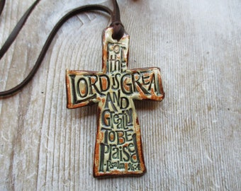 Cross Necklace The Lord Is Great! Essential Oil Diffuser Necklace