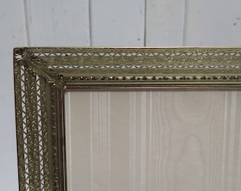 Ornate 8 x 10 Filigree Brass Picture Frame Easel Back  Photo Frame