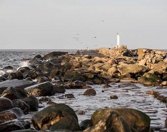 Lighthouse post cards, Baltic sea postcard for Postcrossing, Riga,Western breakwater, Daugava, Daugavgrivas Lighthouse, Seagull