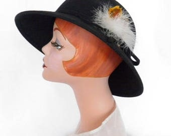 Black fedora hat, 1960s vintage with feathers, Glenover Poland