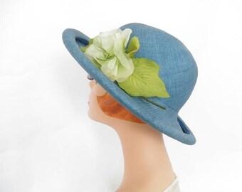 Blue straw hat, vintage 1970s, green flower, Miss Bierner