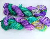 "Merino bulky hand dyed yarn, superwash, fast knitting - Knitting me softly , colourway ""Ovejita Be!"""