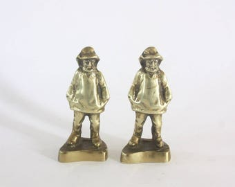 Pair of Vintage Brass Fisherman Bookends