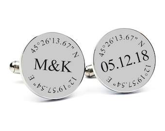 Gift for Groom From Bride Personalized Cufflinks Engraved Cufflinks Round Cufflinks Cuff link Gift for Him Groom Gift Anniversary Gift
