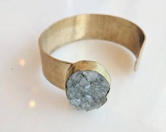 Amethyst and Brass Cuff - amethyst cuff - cuff bracelet - boho cuff - amethyst bracelet - adjustable cuff bracelet - gemstone bracelet