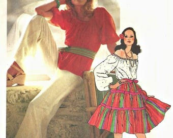 Simplicity 5749 Gypsy skirt and Blouse Pattern,  Palazzo Pants 1970's Size 10 Bust 32