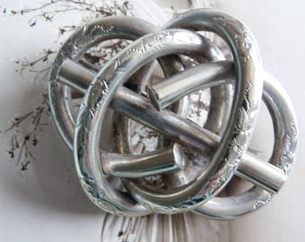 Antique Victorian Huge Etched Silver Plated Love Knot Brooch
