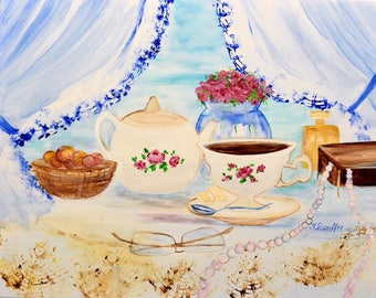 Still life coffee original acrylic painting on canvas multi-color colorful wall art 16x20 in. by artist Mariana Stauffer
