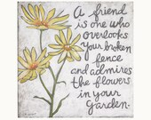 Yellow Flowers Friendship Quote, Inspirational Quote, Floral Art, Ready to Frame Prints, Yellow Flower Print, Typography, Quotes to Frame