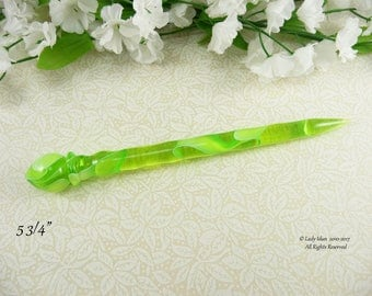 NEW Hair Stick Shorter Length Green Apple Acrylic