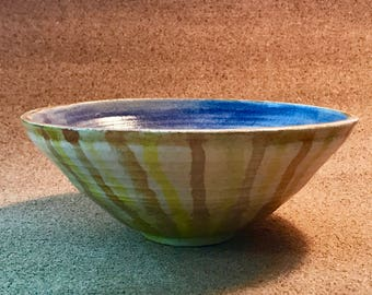 Wheel thrown pottery. Fruit-snack bowl, hand painted bowl in blues and golds. Free shipping USA, gift card and message enclosed.