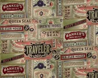 """Cigarbox Multi - Tim Holtz Eclectic Elements Fabric - 44"""" 100% Cotton - Vintage style fabric - Sold by the Yard"""