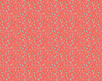 Hill & Dale - Forget Me Not in Coral by Ana Davis for Blend Fabrics