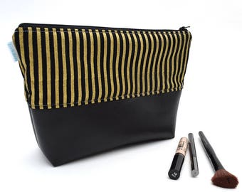 Black Cosmetic Bag - Striped Cosmetic Bag - Vinyl Cosmetic Bag - Birthday Gift for Her - Makeup Organizer - Cosmetic Pouch - Zipper Bag