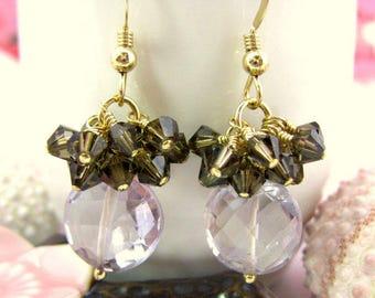 Pink amethyst brown Swarovski crystal cluster coin drop earrings, pink and brown coin drop earrings