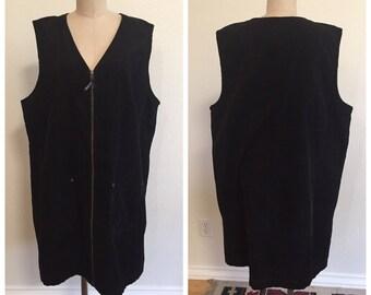 90's Vintage Black Corduroy Jumper - Size 2x - Plus Size - 100% Cotton- 1990's - Goth