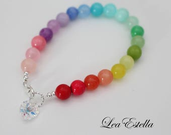 Rainbow Gemstone Bracelet Rainbow bracelet Multi Colored bracelet Heart shaped bracelet Colourful bracelet Love bracelet - Rainbow Heart