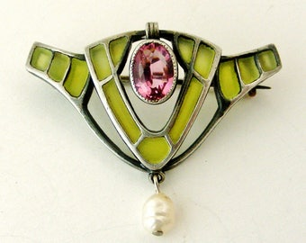 Antique art nouveau jugendstil plique a jour enamel brooch with pink tourmaline