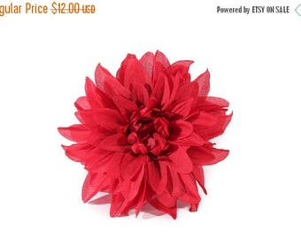 FLASH SALE Single Large Red Dahlia Pinup Hair Flower Fascinator Clip