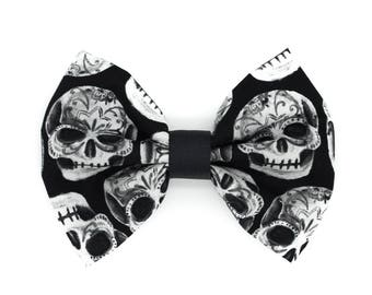 Day of The Dead Skull Black and White Fabric Hair Bow Clip