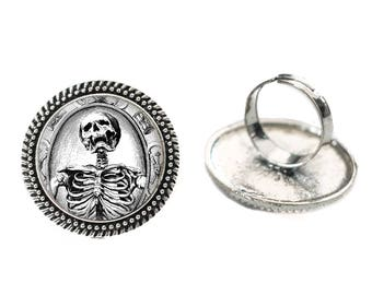 Gothic Laughing Skeleton Glass 25mm Cabochon Silver Double Rope Adjustable Ring