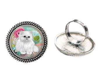 White Fluffy Kitty 25mm Cabochon Silver Double Rope Adjustable Ring