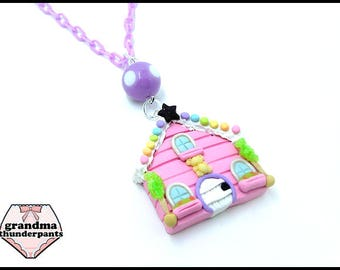 DELUXE Candy Cottage Necklace, Pastel, Fairy Kei, Decora Kei, Dollhouse, Dollhouse Necklace, Sweets House