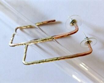 Copper and silver hoops earrings. Fusion hoops earrings.