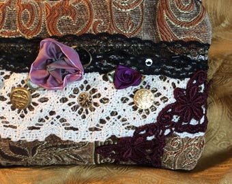 Boho Clutch Bag, bohemian fabric purse, handmade make up bag, thick upholstery chenille fabric, clutch wallet purse S4