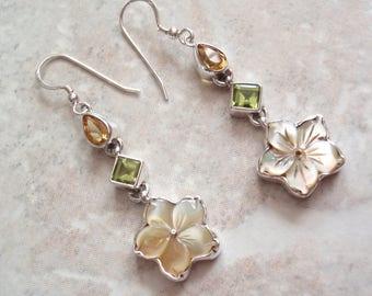 Plumeria Gemstone Earrings Pierced Dangles Citrine Peridot Mother of Pearl Sterling Silver Vintage V0454